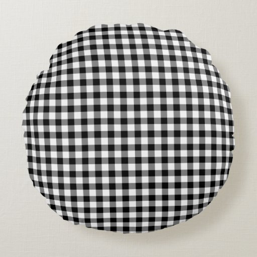 Classic Black And White Gingham Checked Pattern Round
