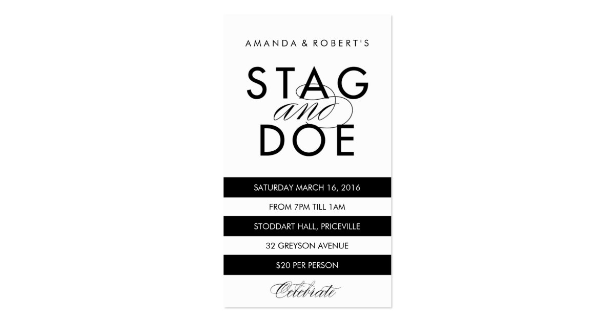 Classic stripe stag doe ticket black business card zazzle for Stag and doe ticket templates