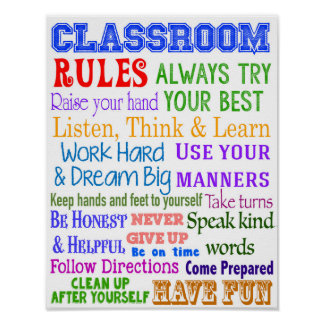 Classroom Rules Posters | Zazzle