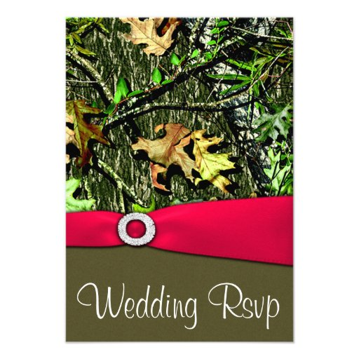 "Classy Camo Wedding Ideas: Classy Hot Pink Hunting Camo Wedding RSVP Cards 3.5"" X 5"