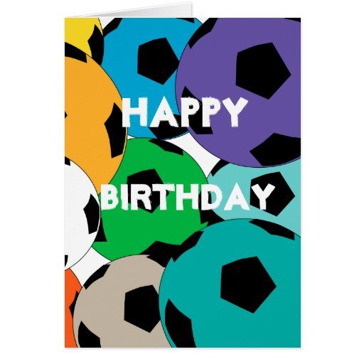 Cluster Of Soccer Balls, Happy Birthday Greeting Card
