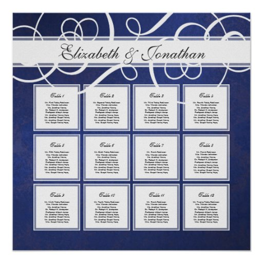 dinner seating plan template - cobalt blue damask dinner party seating chart poster zazzle