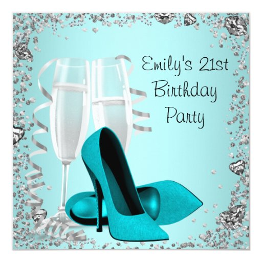 Cocktails High Heels Teal 21st Birthday Party Invitation