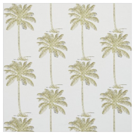 Coconut Palm Trees Pattern Vintage Style Fabric | Zazzle