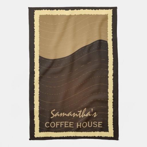 Tea Towels Unique: Coffee And Cream Waves Custom Kitchen Tea Towel