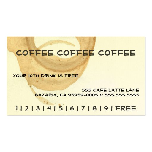 Coffee Coffee Coffee Punch Card Business Card Templates Zazzle mPbZ7Tpp