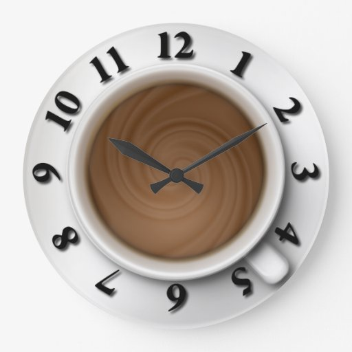 Coffee Time Large Clock Zazzle
