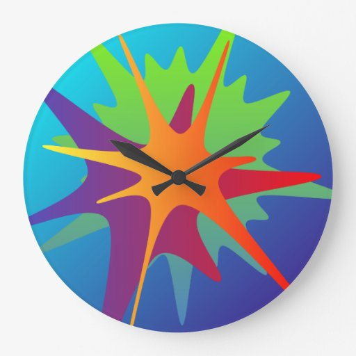 Colorful Abstract Splash Wall Clock Zazzle