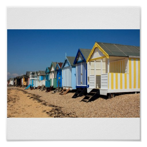 Inspiration Hut Grid Paper: Colorful Beach Huts Poster