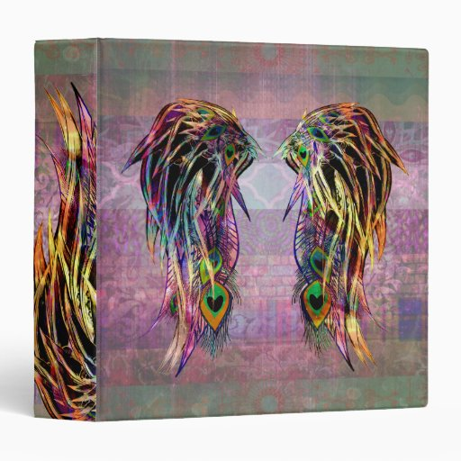 Colorful Bohemian Peacock Feather Angel Wings Binder