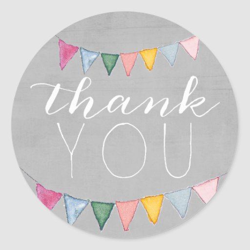 Colorful Bunting Thank You Sticker | Zazzle