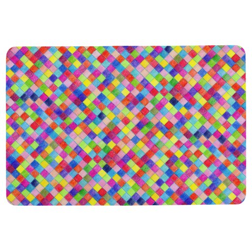 Colorful Colored In Graph Paper Squares Floor Mat Zazzle