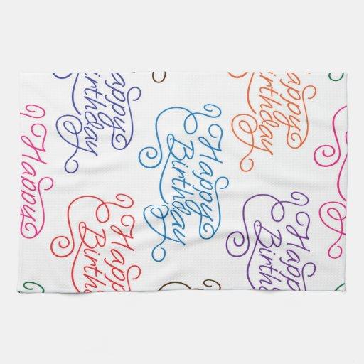 Colorful Cursive Happy Birthday Pattern Towel