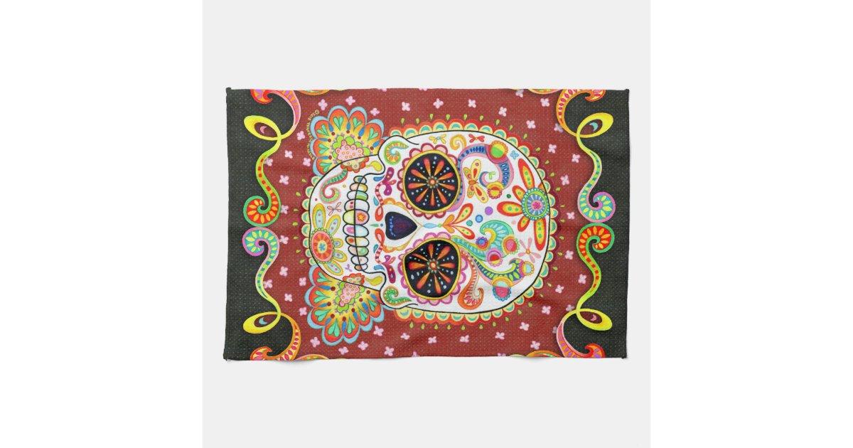Colorful Day of the Dead Sugar Skull Kitchen Towel   Zazzle
