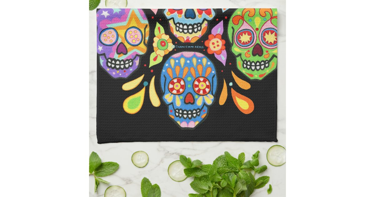 Colorful Day of the Dead Sugar Skull Kitchen Towel | Zazzle