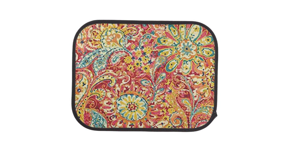 Colorful Floral Car Mats Zazzle