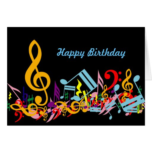 Colorful Jumbled Music Notes Happy Birthday Greeting Card