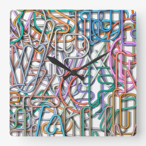 Colorful Line Art Letters Wall Clocks
