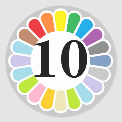 colorful number 10 sticker | Zazzle