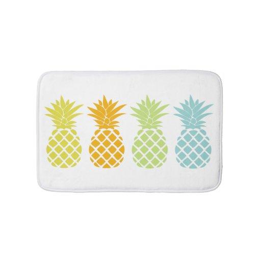 Colorful Pineapples Bath Mat Zazzle