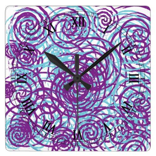 Colorful Purple Blue Abstract Swirls Chaos Pattern Square Wall Clocks