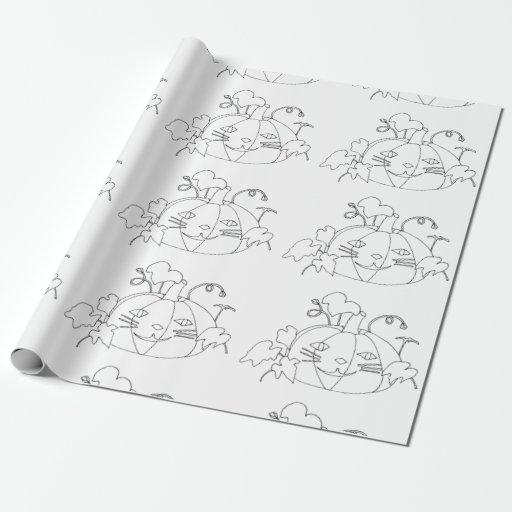 coloring fun cat face pumpkins wrapping paper zazzle. Black Bedroom Furniture Sets. Home Design Ideas