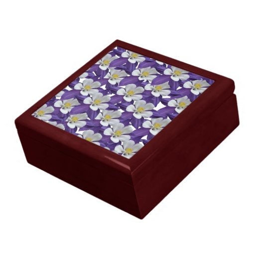 Columbine Floral And Gifts: Columbine Purple And White Flower Pattern Gift Box