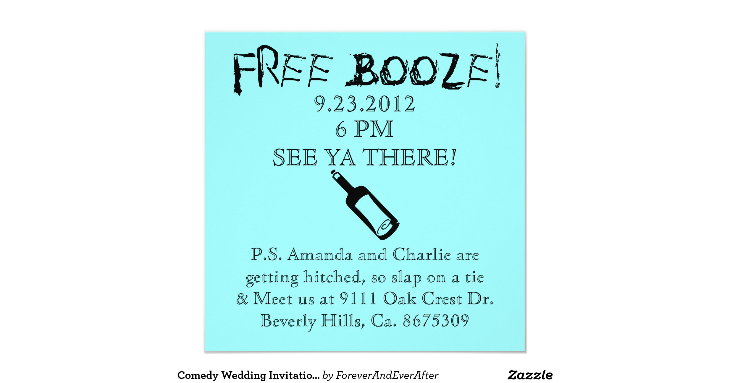 "Humor Wedding Invitations: Comedy Wedding Invitation, Humor 5.25"" Square Invitation"