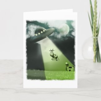 Comical UFO Cow Abduction Card card