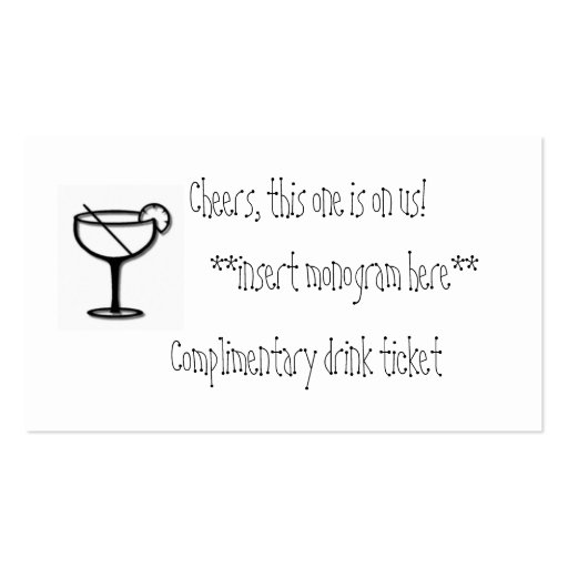 Complimentary drink ticket business card templates zazzle for Complimentary drink ticket template
