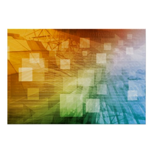 Science Design For Notebook: Computer Science As A Abstract Background Art Poster