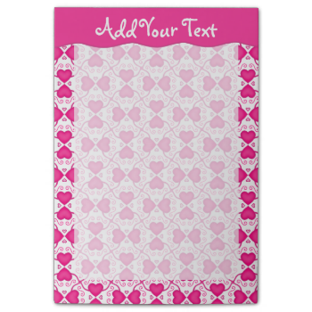Connected Hearts Hot Pink on White Valentine's Day Post-it® Notes