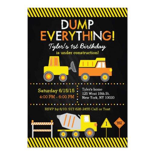 Construction Truck Chalkboard Birthday Invitations