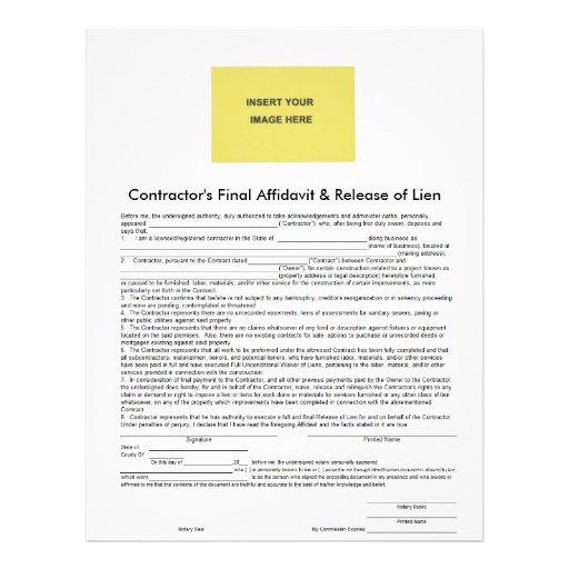 Contractor final affidavit release of lien form for Final lien waiver template