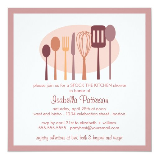 Cooking Utensils Stock The Kitchen Bridal Shower Card Zazzle