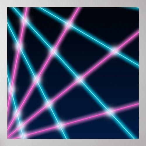 Cool 80s Laser School Portrait Backdrop Background Poster