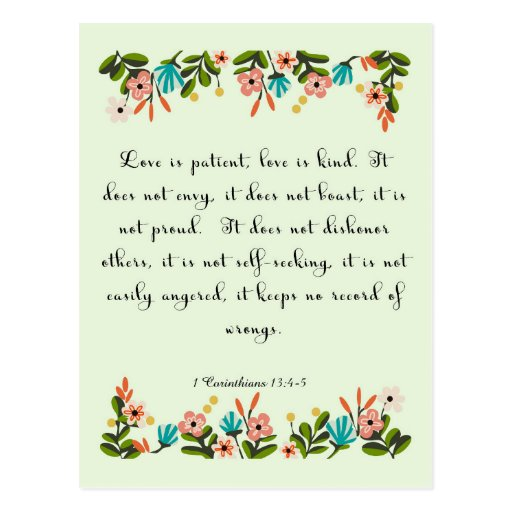 Cool Christian Art - 1 Corinthians 13:4-5 Postcard
