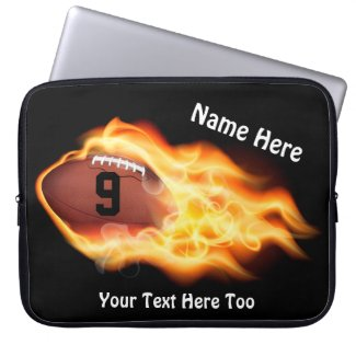Cool Flaming Football Laptop Case, PERSONALIZED Laptop Sleeves