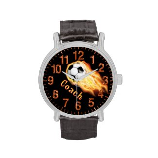 Cool Flaming Soccer Watches for COACHES