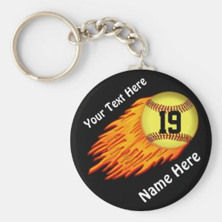 COOL Flaming Softball Team Gift Ideas NAME, NUMBER Key Chains