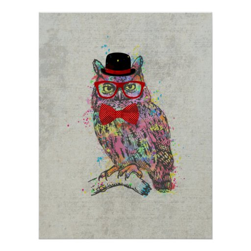Trendy Poster Designs: Cool Funny Trendy Colourful Watercolours Owl Poster