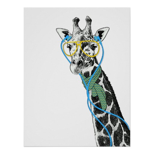 Cool funny trendy giraffe with glasses, earphones poster ... Cool Giraffe Drawing