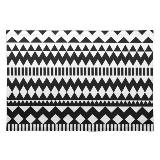 Cool Geometry Black White Aztec Tribal Pattern Placemat ...