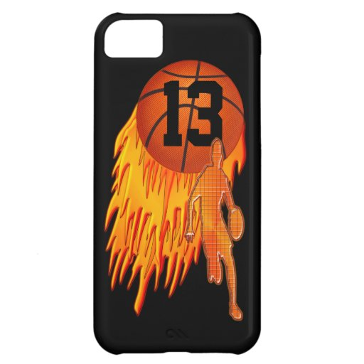 Cool iPhone 5C Cases for Boys, Flaming Basketball | Zazzle