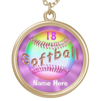 Cool Multicolored Personalized Softball Necklaces