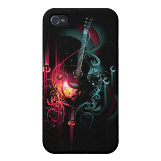 cool music with guitar iphone 4 cases zazzle. Black Bedroom Furniture Sets. Home Design Ideas