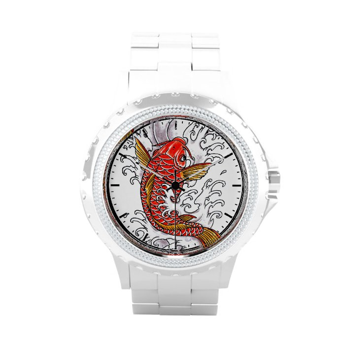 777295c7d Cool oriental japanese tattoo ink lucky koi fish wristwatches on ...