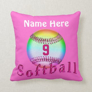 Cool Personalized Softball Pillows NAME and NUMBER