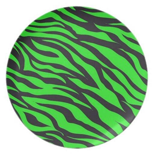 cool trendy neon lime green zebra stripes pattern plate. Black Bedroom Furniture Sets. Home Design Ideas