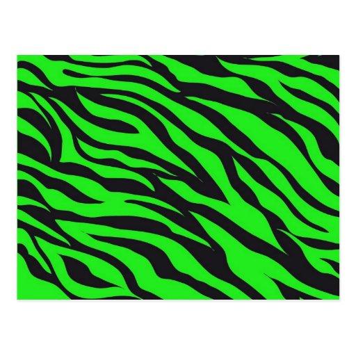 cool trendy neon lime green zebra stripes pattern postcard. Black Bedroom Furniture Sets. Home Design Ideas